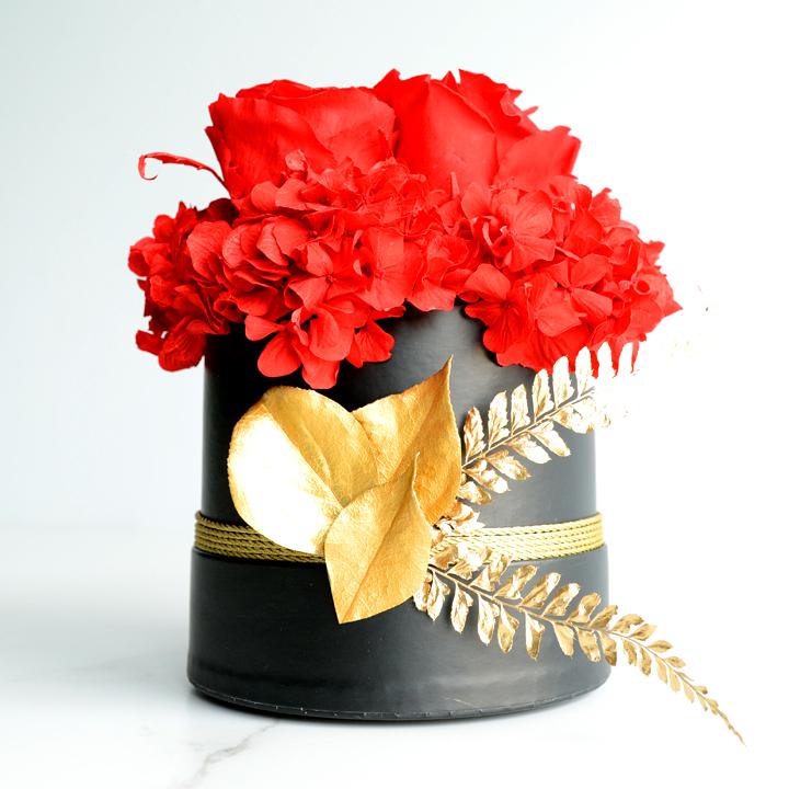 Rose éternelle de fleurs séchées rouges 02