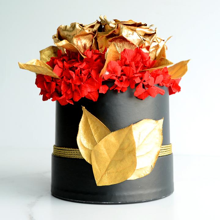 Rose éternelle de fleurs séchées rouges 03