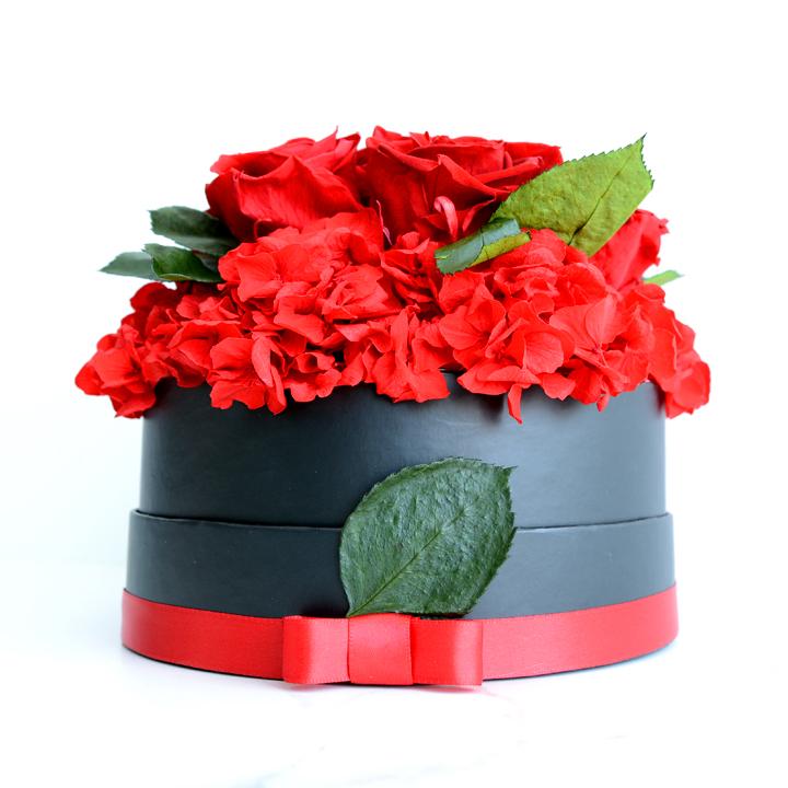 Rose éternelle de fleurs séchées rouges 01