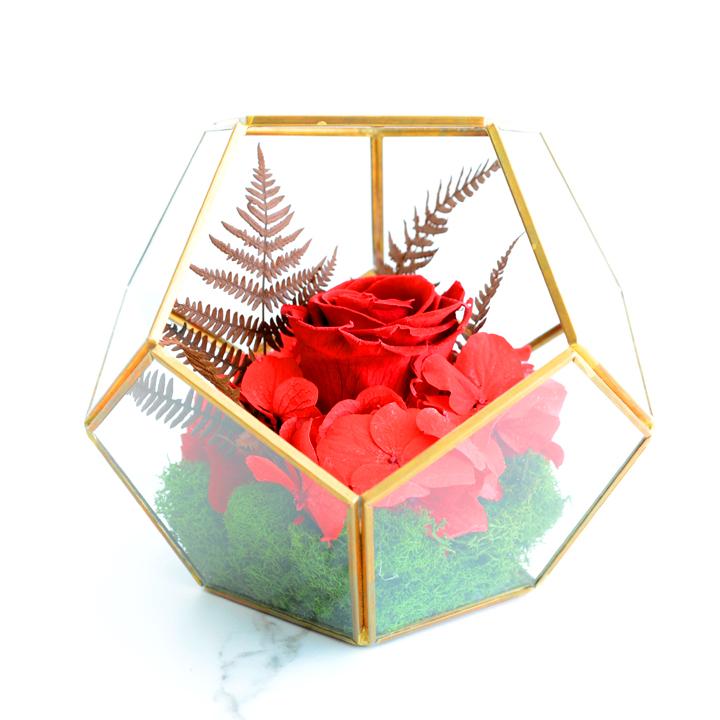 Vase géométrique de fleurs séchées rouges